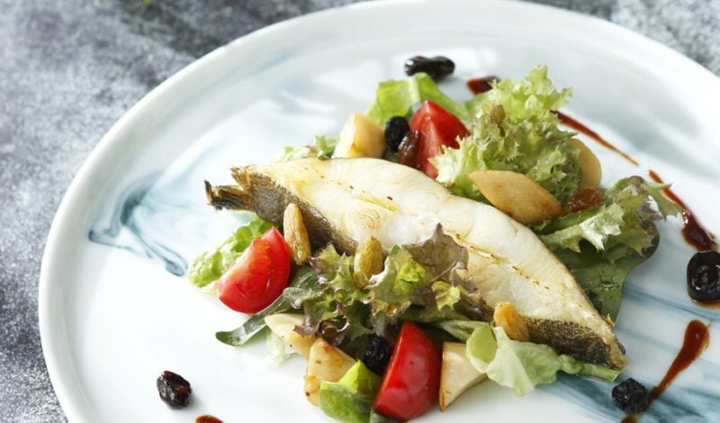 Recipes - Fried Alaska Halibut and Stir-Fried Wild Mushroom Raisin Salad
