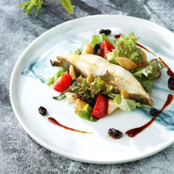 Fried Alaska Halibut and Stir-fried Wild Mushroom Raisin Salad