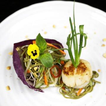 Golden Seared Alaska Scallops on Vietnamese Flavored Soba Noodle Salad