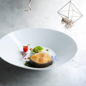 Alaska Black Cod with Cream Sauce and Asparagus