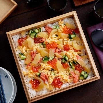 Chirashi ซูชิกับไข่ปลา Kazunoko Herring จากอลาสก้า