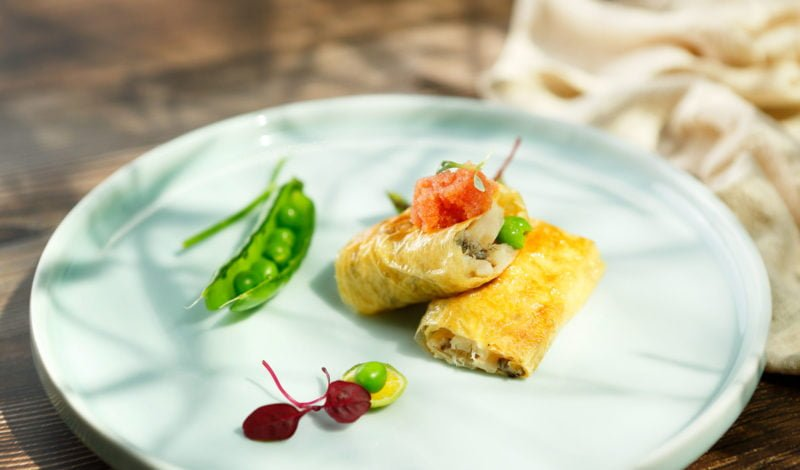 Recipes - Fried Alaska Cod Wrapped with Tofu Skin and Garnished with Alaska Pollock Roe