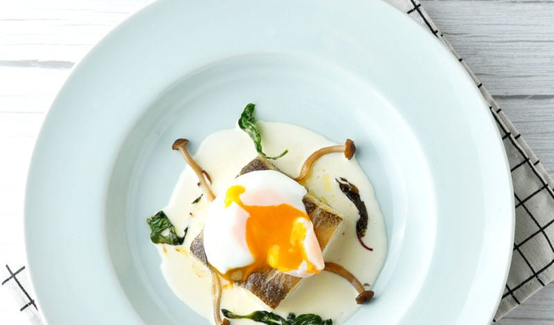 Recipes - Fried Alaska Yellowfin Sole with Mushroom and Onsen Tamago (soft-cooked egg)