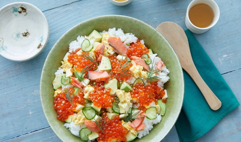 Recipes - Fusion Chirashi Sushi with Alaska Salmon and Ikura Salmon Roe