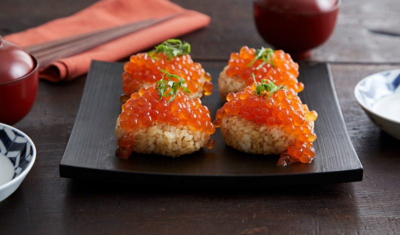 Recipes - Roasted Rice Ball with Alaska Ikura Salmon Roe Spilling out