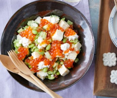 Recipes - Salad with Alaska Ikura Salmon Roe and Chopped Tofu