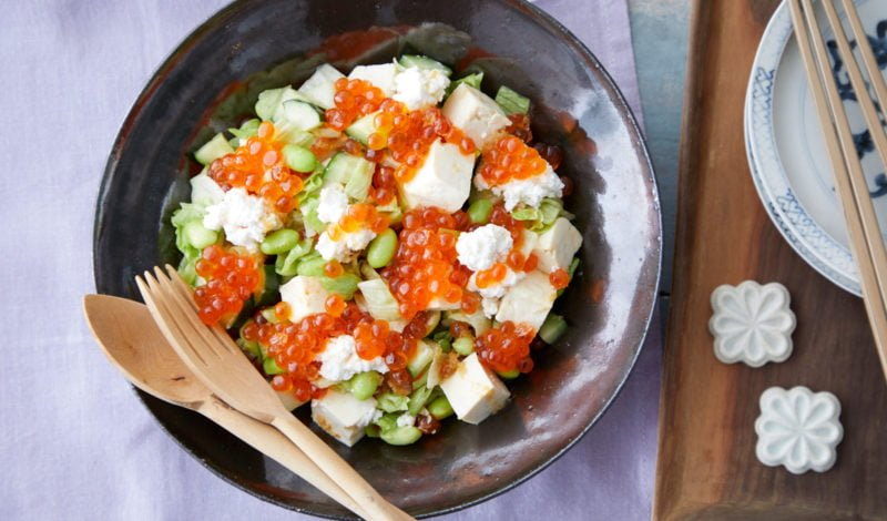 Recipes - Salad with Alaska Ikura Salmon Roe and Chopped Tofu