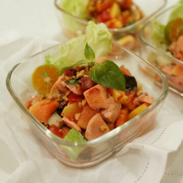 Salmon with Manado Style Young Papaya and Pickled Ginger Salad